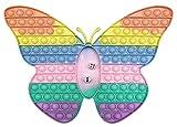 CRAZYCHIC - Pop It Gigante Con Dados Fidget Toys - Popit XXL Grande Push Bubble Juguetes Niños Barato - Juegos Antiestres Dice Game Hijos Adultos - Burbujas Multicolor Arco Iris Regalo - Mariposa Rosa