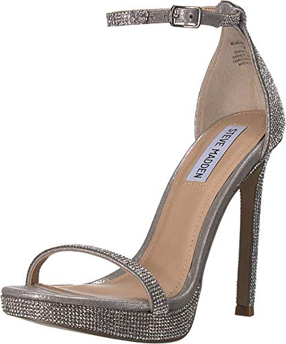 Steve Madden Womens Milano Stiletto Evening Sandals Silver 9.5 Medium (B,M)