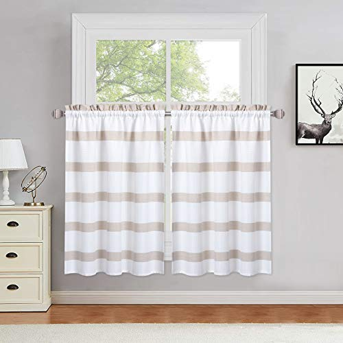 Haperlare Kitchen Curtains, Taupe Yarn Dyed Striped Pattern Bathroom Window Curtain 36 Inches, Farmhouse Waffle Weave Textured Cafe Curtains Half Window Treatment Set Small Curtains, Set of 2