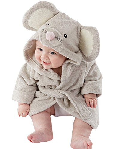 Meihuida Mädchen Jungen Baby & Fleece Bademantel Robe Super weicher Fleece Bademantel (1-2 Jahre, Maus)