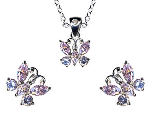 Juego de joyas de plata de ley 925, pendientes + cadena + colgante de mariposa, collar con colgante de mariposa, cadena de plata, colgante, pendientes de circonita, color blanco