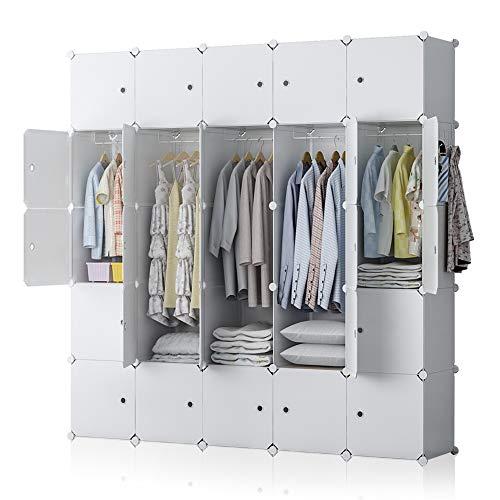 YOZO Portable Closet Wardrobe Organization Plastic Dresser Cube Storage Organizer Armoire Customizable Bedroom Armoire Dresser, 25 Cubes, Depth 18 inches, White