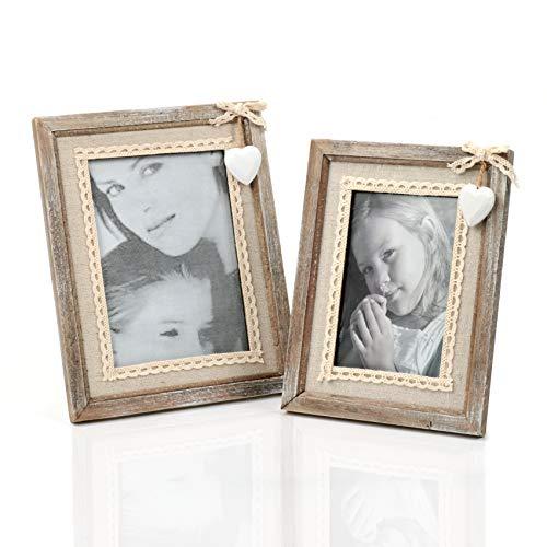 Cilusar Juego de 2 marcos de fotos de madera, 10 x 15 y 13 x 18 cm, vintage, madera maciza, con corazón blanco y arpillera, para cumpleaños, boda, regalo