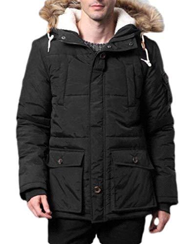 HenShiXin Proporcionar Collar de los Hombres Sudaderas con Capucha de Piel Falsa Acolchado Acolchado Slim Down Jacket con rapidez (Color : Black, Size : X-Large)