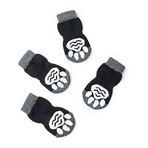 YUEKUN Hundesocken Socken für Hunde und Katzen 4 Stück Indoor Anti-Rutsch Pfotenschutz 4 Größen von S bis XL für kleine-riesige Tiere Pfotenschutz und Traktion Dank Silikon-Gel (M)