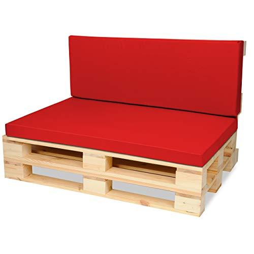 SuperKissen24 Materasso Cuscino per Bancale Divano Pallet 120x80 con Schienale 120x40 cm Seduta Impermeabile e Comodo per Divanetti da Esterno - Rosso