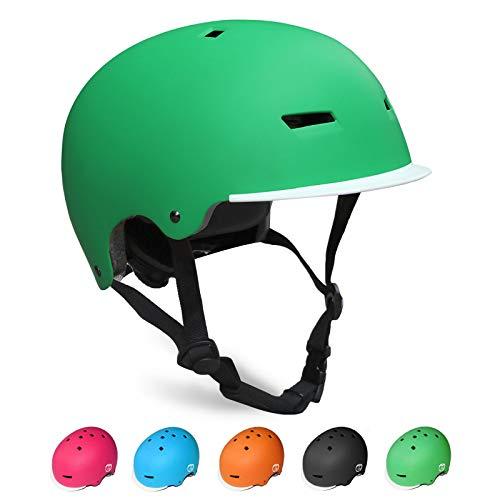 KORIMEFA Kinderhelm Fahrradhelm Skaterhelm Kinder CE-Zertifizierung für Fahrrad Skateboard Roller Schifahren für 3-13 Jahre Junge Mädchen (Grün, M: 54-57CM / 21.3-22.4 Zoll)