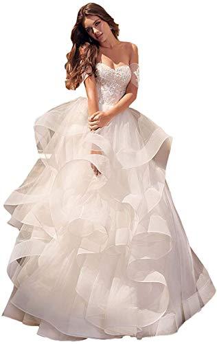 CGown Damen Sweetheart Ausschnitt Rüschen Schnürung Meerjungfrau Hochzeitskleider für Braut mit Ärmeln Tüll Brautkleid Gr. Large, weiß
