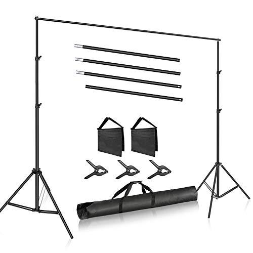 Neewer Système Support Toile Fond Photo Studio, 3m de Large 2m de Haut Support de Fond avec 4 Barres Transversales, 3 Pinces Toile Fond, 2 Sacs Sable et Un Sac pour Transport de Portrait et de Studio
