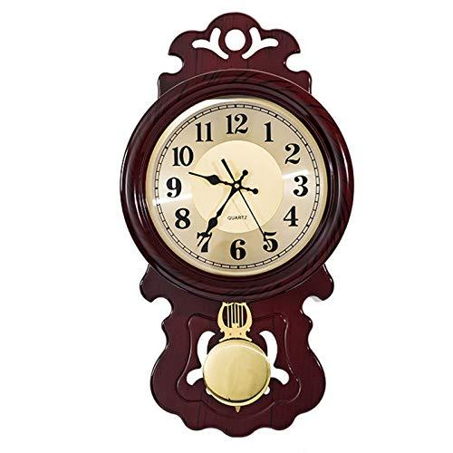 WUJIA Regulador de Roble Oscuro Péndulo Reloj de Pared,Silent Style,80×44cm