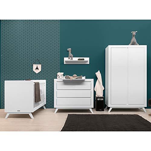 Chambre complète lit bébé 60x120 - commode à langer - armoire 2 portes Anne - Blanc