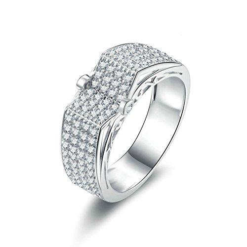 Beydodo Anello Diamante Donna in Argento Anelli Fidanzamento Solitario Anello di Cristallo con Rotonda Brillante Diamante Taglia 10-27