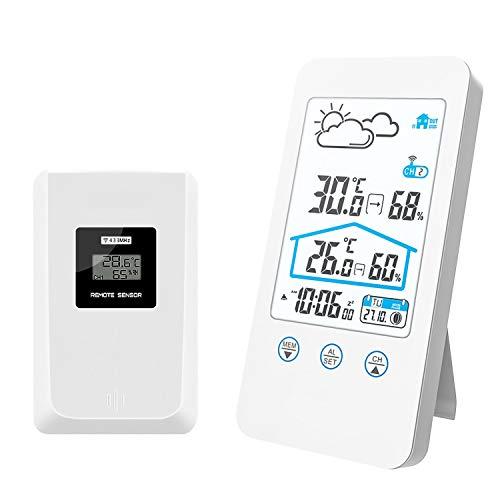 ZILI Estación meteorológica inalámbrica, Termómetro Digital inalámbrico para Interiores y Exteriores Barómetro Medidor de Humedad Reloj de estación meteorológica con Sensor Exterior (Blanco)