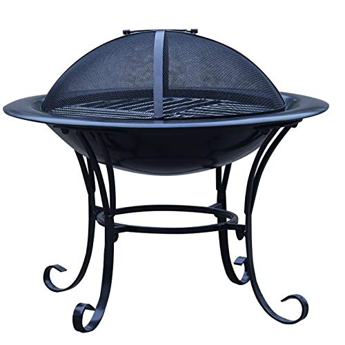 LOVEHOUGE Outdoor Fire Pit Steel BBQ Grill Firepit,Fire Bowl with Mesh Spark Screen Cover,Bulit-In Grate for Camping Picnic Patio Backyard Beaches