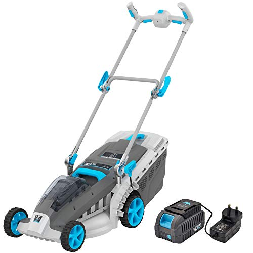 swift EB137C2 Deluxe 40V Cordless Lawn Mower, 37cm Cutting Width Lightweight Battery Rotary Mower with 40 Litre Grass Box, Central Height Adjust & Foldable Handles (Battery & Charger Included)