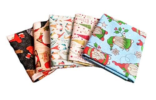 Christmas Farmhouse Gnomes Fat Quarter Fabric Bundle Set 5 (1/4 Yard) Timber Trees Cotton (0.25 Yard Bundle)