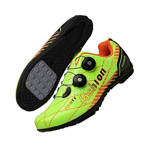 JINFAN Calzado De Ciclismo De Carretera para Hombre - Calzado De Ciclismo De Carretera para Mujer Taco Transpirable con Hebilla Giratoria,Green-EU41