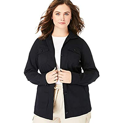 Woman Within Women's Plus Size Sport Twill Utility Jacket - L, Black by Woman Within