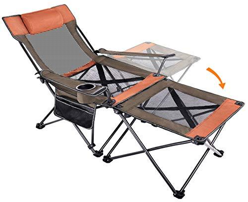 Sykooria アウトドア チェア 2IN1 キャンプ チェア 折りたたみ 角度調整 耐荷重 150kg 強化されたフレーム 安定性向上 枕つき アウトドア 椅子 簡単組立 コンパクト 収納袋付属 室内/アウトドア用