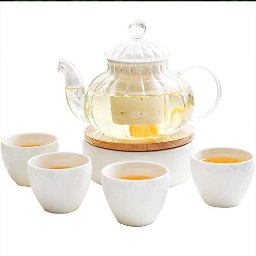 Xingyu Teeset, Kerzenwärmer, europäische Teetassen und Teekanne für 4-Personen-Heizung, Blumen-Teetassen-Set für den Haushalt (Farbe: weiß, Größe: 6 Stück), weiß, 6 Stück