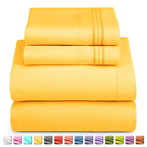 Cama hoja juego de ropa de cama, 100% suave de microfibra cepillada con bolsillo profundo sábana bajera, 1800cama de lujo colección, hipoalergénico & Antiarrugas de lino para dormitorio