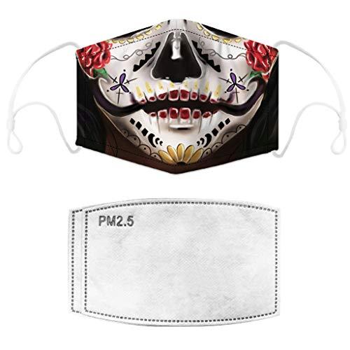 Face Cover Masken with 2pcs Filter Sturmmaske Halloween Cosplays Gesichtsmaske Multifunktionstuch Reusable Mundschutz Halstuch Sturmmaske Ghost für Motorrad Fahrrad Paintball Karneval Kostüm (C)