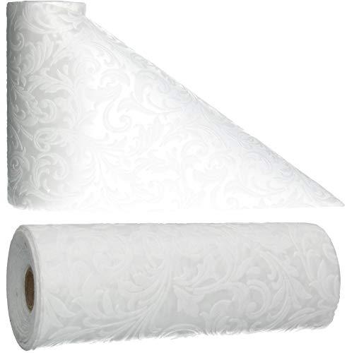 AmaCasa Tischläufer Ornament Wasserabweisend   Tischband mit Lotoseffekt   30cm/20m   Weiß   Dekorativ für Partys und andere Feierlichkeiten   Abwaschbarer Tischläufer zum wiederverwenden