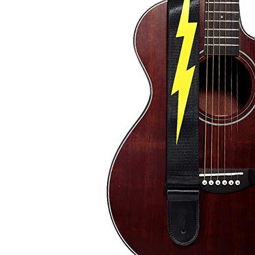 Gitarrengurt Blitz-Muster-Entwurf Geeignete Gitarrengurt for Akustik- und E-Gitarre for E-Gitarre und Akustikgitarre Besten Gitarrist Giftr, 2 Zoll breit einstellbare Länge 34-55 Zoll Elektrische akus