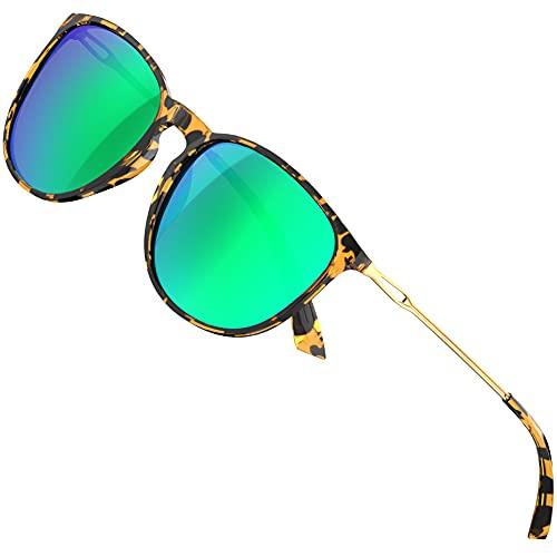 ATTCL Sonnenbrille Damen - Vintage Polarisierte Ultraleicht UV-Schutz Verspiegelt Sonnenbrillen Douhua+Gold+Green 1013