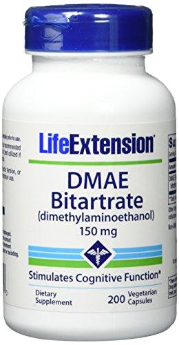 Life Extension , DMAE Bitartrate ( Dimethylaminoethanol ) , 150 mg , 200 Kapseln , hochdosiert , Vegetarisch , ohne Gentechnik