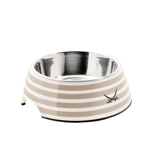 HUNTER SANSIBAR RANTUM Melamin-Napf, Futternapf, Trinknapf, für Hunde und Katzen, mit Edelstahlnapf, 700 ml, grau