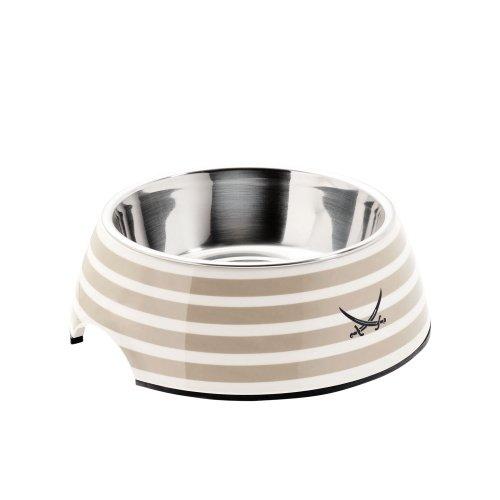 HUNTER SANSIBAR RANTUM Melamin-Napf, Futternapf, Trinknapf, für Hunde und Katzen, mit Edelstahlnapf, 350 ml, grau