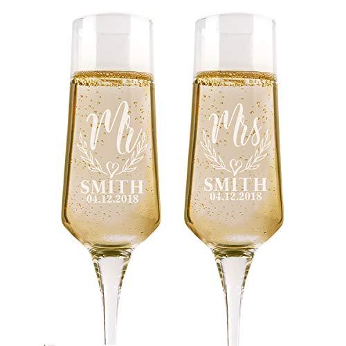 Juego de 2 copas de champán personalizadas para bodas, Mr Mrs Heart, copas para tostadas para novia y novio, copas de tostadas de boda – Registro de bodas por nombre de novias, regalo de boda