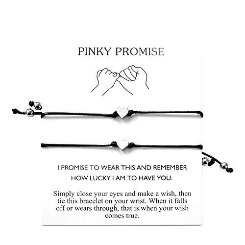 ROSTIVO Pinky Promise Bracelets Best Friend Bracelets for 2 Matching Bracelets Couples Bracelets (Black)