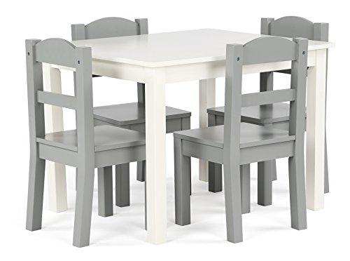 Humble Crew Kids Wood Table amp 4 Chairs Set White/Grey