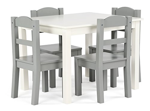Tot Tutors Springfield Collection Kids Wood Table & 4 Chair Set, White/Grey