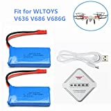 3.7V 780mAh Lipo Rechargeable Battery for WLtoys V636 V686 4CH FPV RC Quadcopter Wltoys V686G Battery 2 Pack with Charger