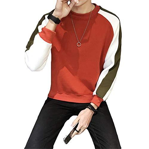 Subink Herren Koreanischer Pullover, Slim Fit, Joker Color Herren-T-Shirt Gr. 5X-Large, rot