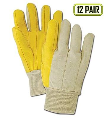 Magid 64G MultiMaster Cotton/Poly Double Palm Canvas Chore Glove with Knit Wrist Cuff, Work, Men Size, Golden Fleece (One Dozen)