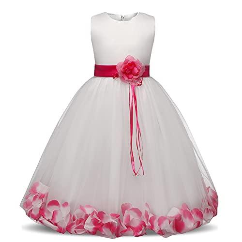 XIAOQIAO Vestido de Flores de Encaje Blanco Vestido Niños Niñas Niñas Noche Formal Vestido Largo Princesa Invierno Partido Ropa Tamaño 4-10 años (Color : Rose Dress, Kid Size : 9)