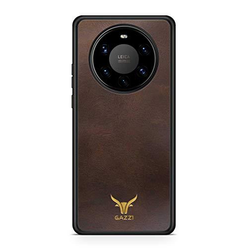GAZZI Lederhülle für Huawei Mate 40 PRO Hülle Hülle Schale Backcover Handyhülle Schutzhülle Echt Leder, R&umschutz, Flexible Schale (Vintage Braun Gold)