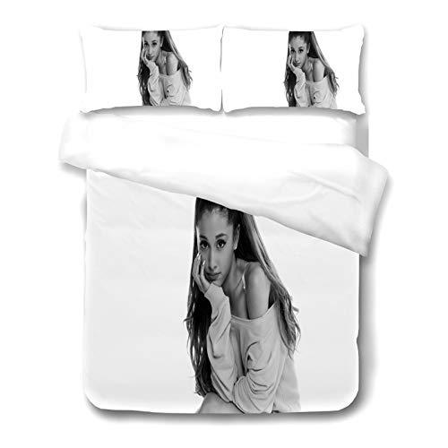 Fgolphd Ariana Grande Juego de ropa de cama, 100% microfibra, juego de cama de microfibra suave con cremallera, funda nórdica y fundas de almohada para adolescentes adultos (135 x 200 cm,3)