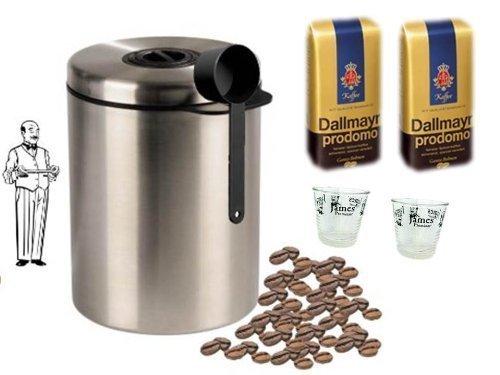 Dallmayr Prodomo Ganze Bohnen - 2 x 500 g = 1 KG + Edelstahldose für 1 kg Kaffeebohnen Neu mit Silicabag von Conny Clever® zur Erhaltung der Aromastoffe von James Premium® + 2 Espressoglastassen