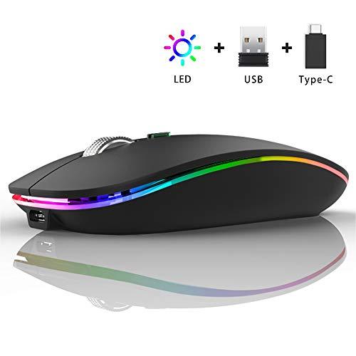 Ratón Inalámbrico Recargable, Ultra Delgado Receptor Nano Wireless Mouse 1600 dpi Ajustables Silencioso Mini Mouse Multicolor LED para Computadora Portátil, PC, Portátil, Macbook (Negro Mate)