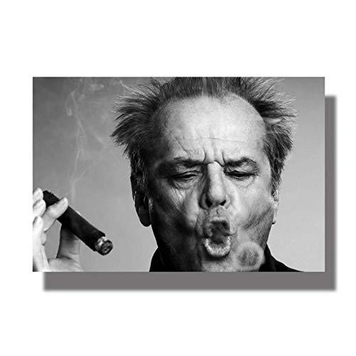 XuFan Imágenes de cigarros de Celebridad Jack Nicholson, Lienzo Abstracto, Carteles artísticos de Pared, Pintura Impresa en HD, Decorativa para el hogar, 20X28 Pulgadas, sin Marco