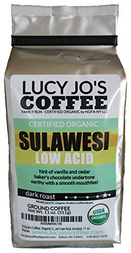 Lucy Jo's Coffee, Organic Sulawesi Low Acid, Ground, 11 oz