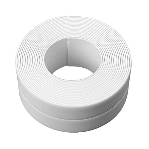 Vanker Ruban adhésif 3,8 cm x 3,2 m pour joints de salle de bain ou cuisine Blanc
