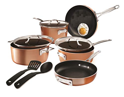 Gotham Steel Stackable Pots and Pans Stackmaster 10 Piece Cookware Set with Ultra Nonstick Cast Texture Ceramic Coating, Copper