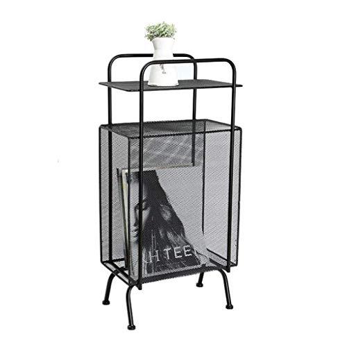 LY88 multifunctionele opslag rack woonkamer decoratie tafel, metalen ijzer (kleur: zwart)