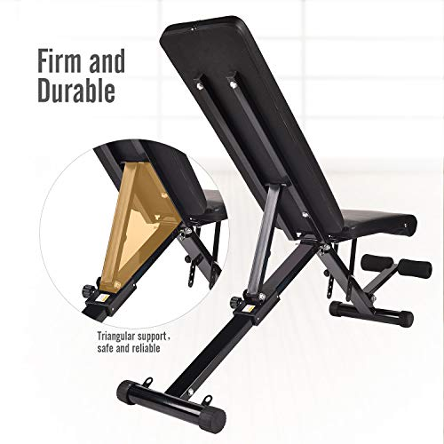 Puluomis Adjustable Weight Bench, Foldable Multi-Purpose Exercise Bench for Full Body Workout, Incline Decline Strength Training Bench with Pull Strings for Home Gym